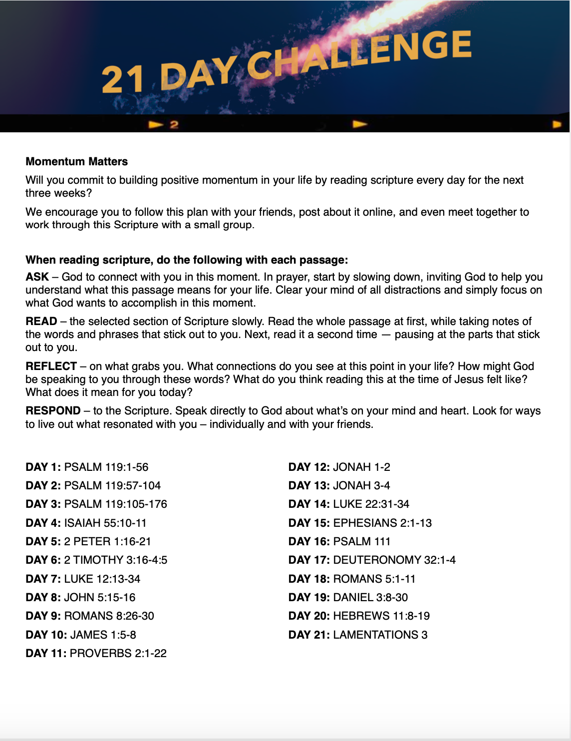 Youth Bible Reading Plan